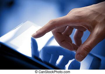pc, pantalla, conmovedor, tableta