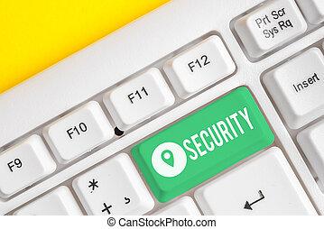 pc, señal, actuación, security., cuadra, miedo, papel, o, conceptual, texto, peligro, llave, libre, vacío, blanco, nota, space., sobre, foto, seguro, copia, plano de fondo, estado, teclado, sentimiento