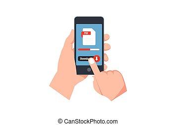 pdf, smartphone, smartphone, botón, mano, toques, descargue, asideros, plano, screen., button., archivo, diseño, documento, descargar, vector, creativo, tela, concepto, ilustración, dedo, sitios, banderas