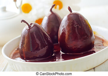 Pear con chocolate, dulce comida