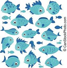 peces, 3, conjunto, estilizado, tema