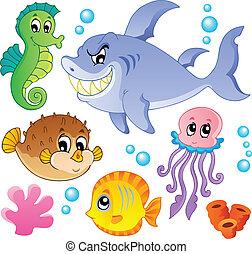 peces, animales, 4, colección, mar