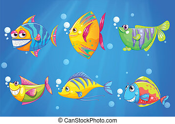 Peces coloridos y sonrientes bajo el mar
