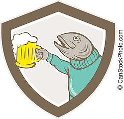 Peces de truchas sosteniendo dibujos de taza de cerveza