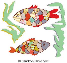 peces, divertido, conjunto, labor de retazos, diseño, agua