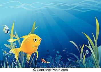 Peces dorados, vida submarina, vector