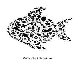 Peces llenos de vida marina
