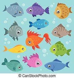peces, topic, 3, imagen, estilizado