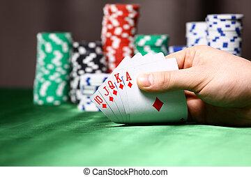 pedacitos, lugar, póker, player., tarjeta