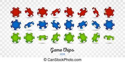 pedacitos, mostrar, diferente, ángulos, póker