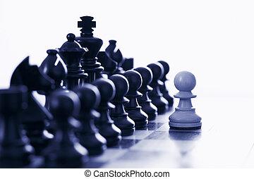 pedazos, negro, desafiante, ajedrez, peón, blanco