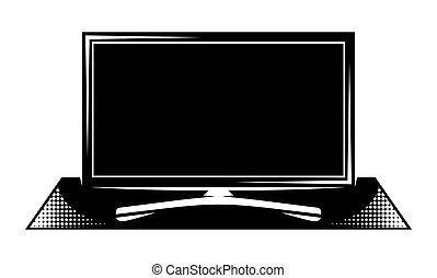 pedestal., panel, televisión, monocromo, ilustración, vector