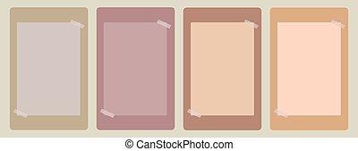 pegado, pastel, papel, nota pegajosa, vendimia, cinta, colores