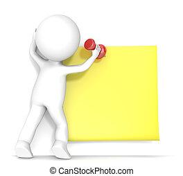 pegajoso, amarillo, note.