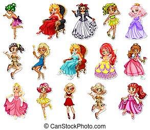 pegatina, caracteres, diferente, caricatura, conjunto, fairytale