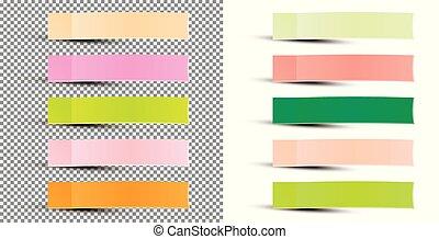 Pegatina de notas. Ilustración de vectores. Cinta adhesiva con sombra.