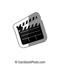 Pegatina de silueta negra con cine de clapperboard