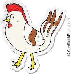 Pegatina de un pollo de dibujos animados