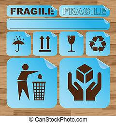pegatina, frágil, seguridad, conjunto, icono