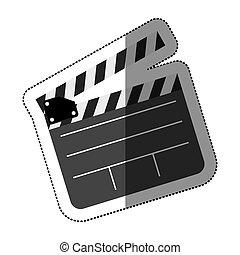 Pegatina gris con cine de clapperboard