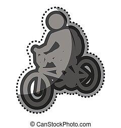 Pegatina gris con pictograma de hombre en bicicleta