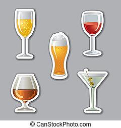 pegatinas, alcohol, bebidas
