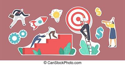 pegatinas, conjunto, luego, trabajo en equipo, equipo, gente, escaleras, montañismo, puntería, blanco, paso, empresa / negocio, top., alcance