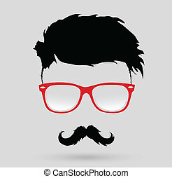 peinado, bigote, hipster, barba