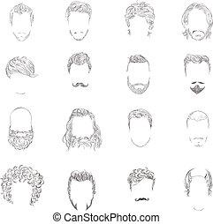 peinado, conjunto, hombre