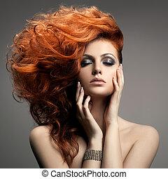 peinado, portrait., belleza