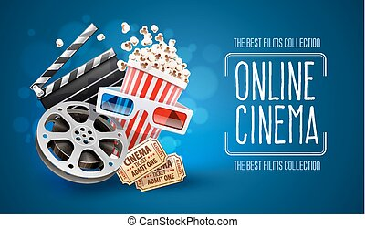 Película de cine en línea viendo con palomitas
