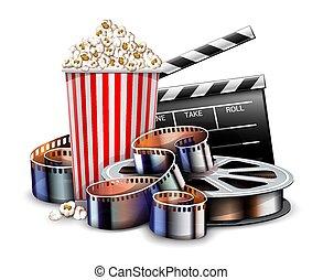 Película de cine en línea viendo con palomitas. Vector.