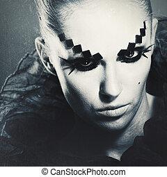 Película de miedo. Desagradable retrato femenino para tu diseño