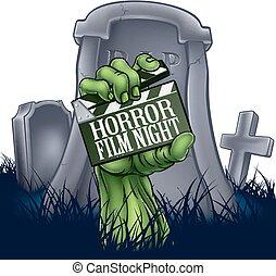 Película de terror zombie o signo de clapper monstruoso