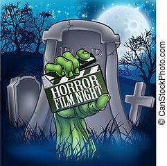 Película de terror zombie o signo de monstruo