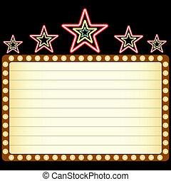 Película en blanco, teatro o casino marquee con estrellas de neón arriba