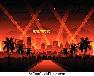 película, rojo, hollywood, cityscape, alfombra, plano de fondo