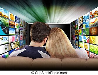película, televisión, gente, pantalla, mirar