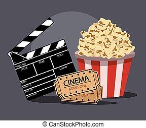 película, vector, ilustración, industria