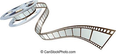 Películas saliendo de rollos de película