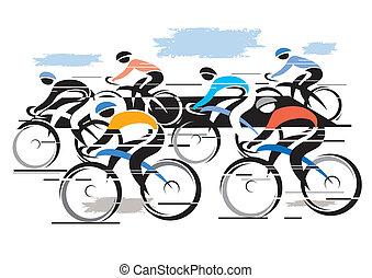 Peleton de carreras de bicicletas