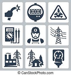peligro, enchufe, potencia, iconos, suministro, alambre, industria, metro, electricista, señal, bared, vector, multímetro, suministro, línea, receptáculo, set:, planta
