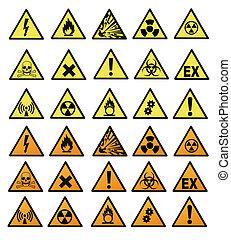 peligro, químico, señales