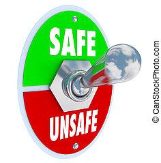 peligro, seguro, inseguro, interruptor, palanca, contra, seguridad, elegir, o