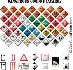 peligroso, carteles, bienes