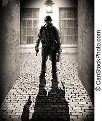 peligroso, hombres, silueta, militar