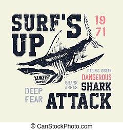 peligroso, tiburón, ilustración, typo