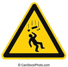 Peligrosos objetos cayendo señal de advertencia macro aislado
