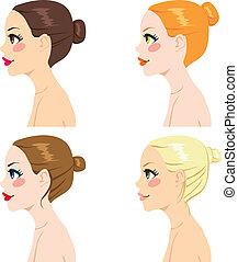 pelo, estilos, bollo