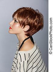 pelo, mujer, rojo, cortocircuito